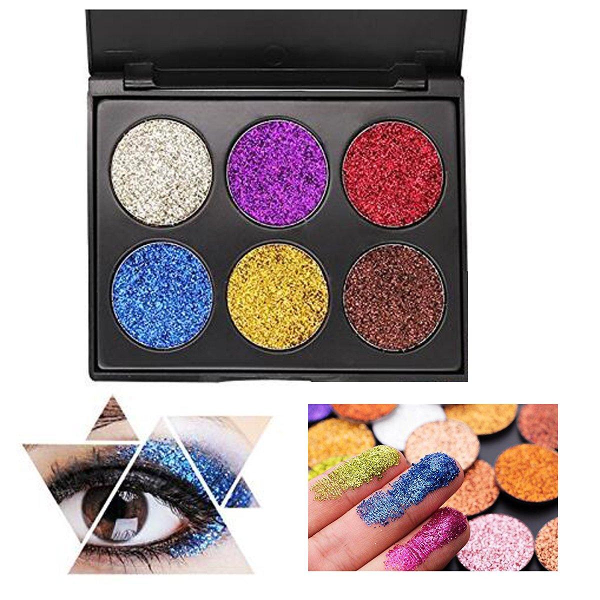 Glitter Eyeshadow, YHMWAX 6 Color Shimmer Ultra Pigmented Makeup Eye Eyeliner Cosmetic Eye Shadow Diamond Shiny Shimmer, Silky Smooth & Long Lasting (EFK02)