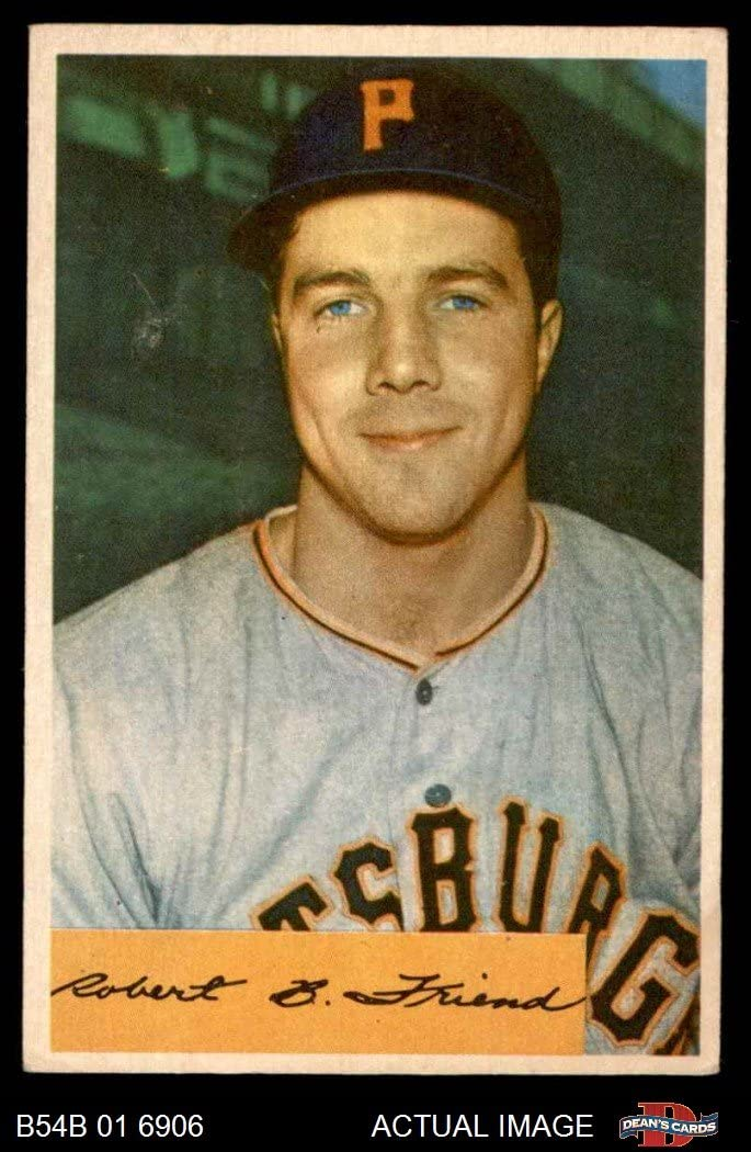1954 Bowman # 43 COR Bob Friend Pittsburgh Pirates (Baseball Card) (Quiz on Back asks Who pitched 16 Shutouts.) Dean's Cards 5 - EX Pirates 71cldybVccL