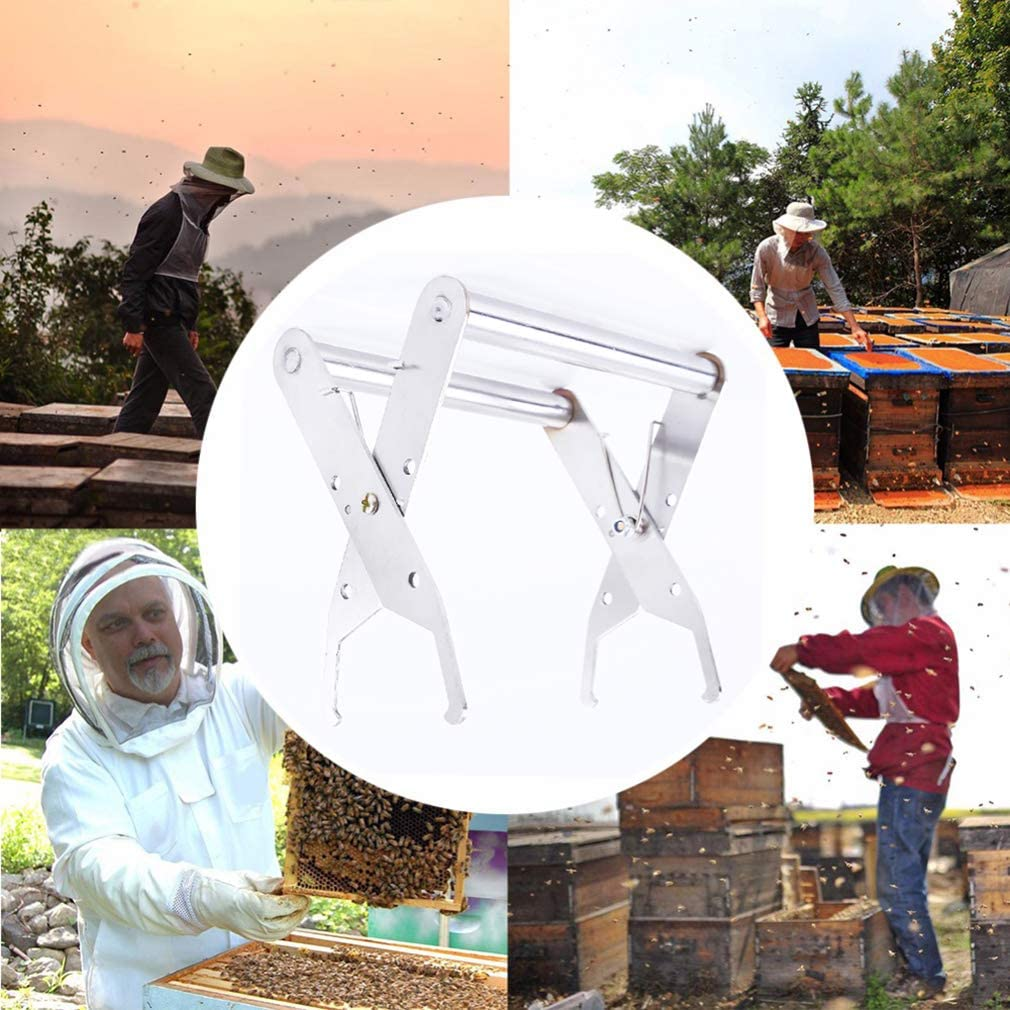YESMAEA Bee Hive Frame Stainless Steel Bee Hive Frame Holder Lifter Capture Gripping Tool Beekeeping Equipment Protection Bee Sting Capture Grasp Equipment Slivery
