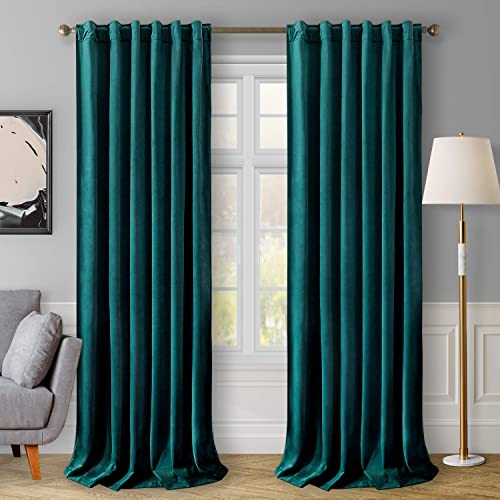 HOMEIDEAS Velvet Curtains Teal Blackout Curtains 52 X 108 Inches Review