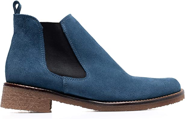 Chelsea Botines Mujer Chelsea de Piel Azul: Amazon.es: Zapatos y ...