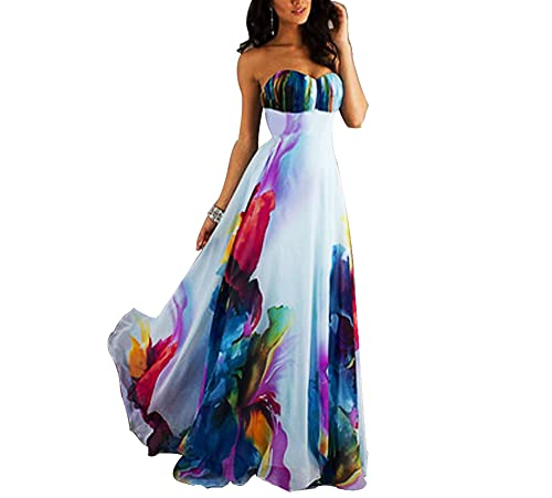 cooshional Donna maxi floreale lungo vestito elegante cocktail abito da sera