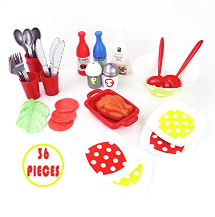 Kids Kitchen Accessories >> Genius Art Kids Kitchen Accessories 36 Pcs Playset For Toddlers