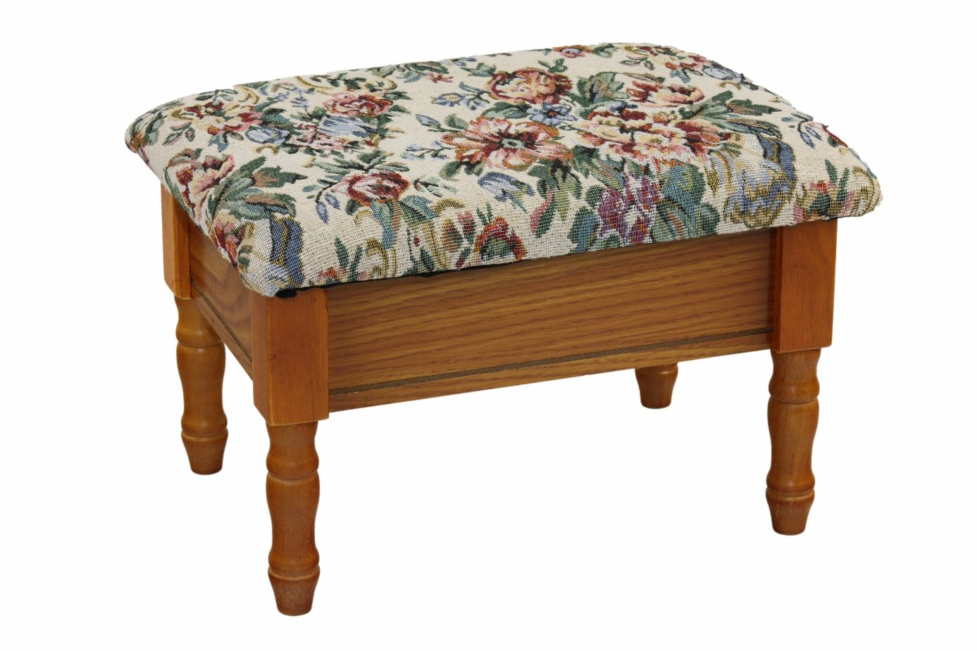 Frenchi furniture queen anne style footstool w storage in for Queen anne furniture