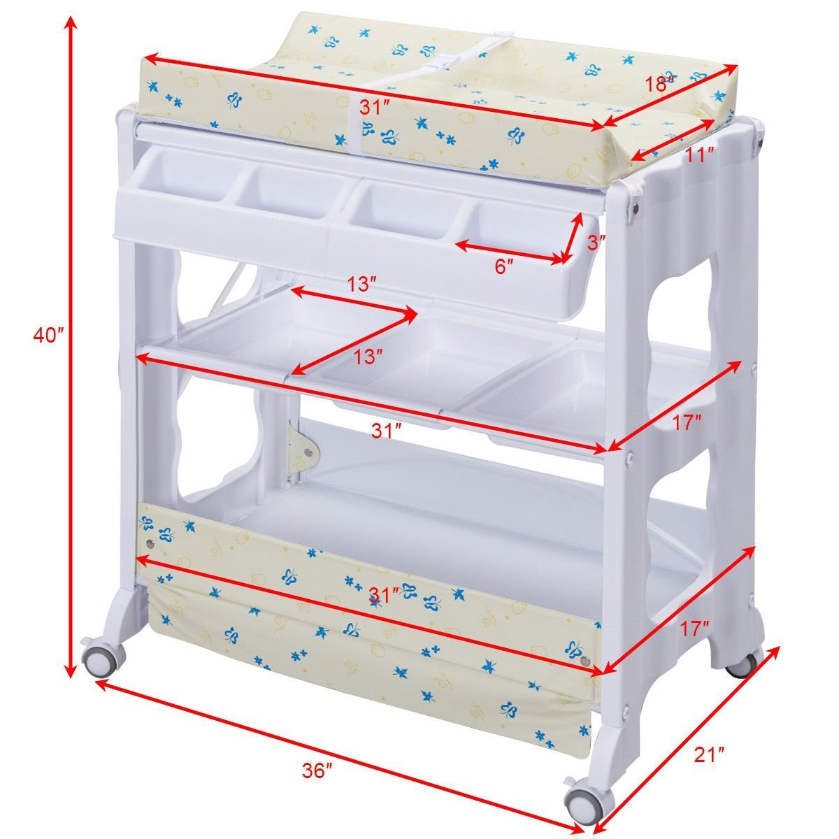 Costzon Baby Bath and Changing Table, Diaper Organizer for Infant with Tube & Cushion (Beige) by Costzon (Image #7)