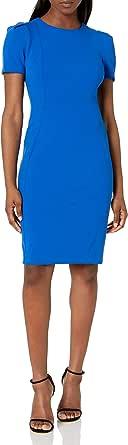 Calvin Klein Women's Petite Short Sleeved Princess Seamed Sheath Dress