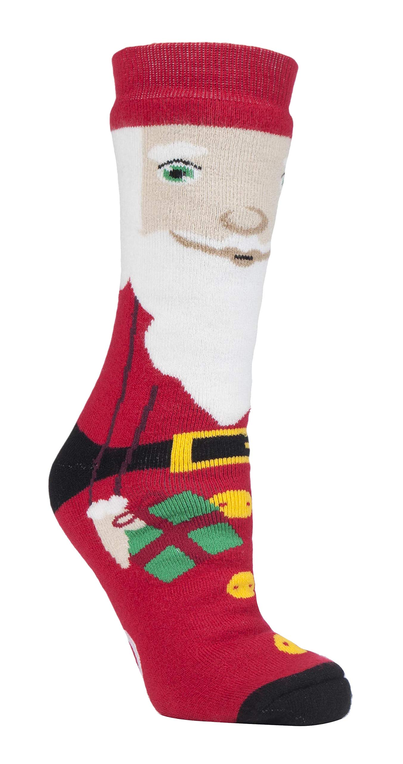 Heat Holders - Womens Thick Winter Thermal Christmas Anti Skid Slipper Socks (5-9 US, Santa)