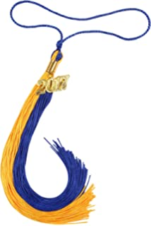 gradplaza graduation tassel with silver or gold 2017 year charm double color - Diploma Frames With Tassel Holder