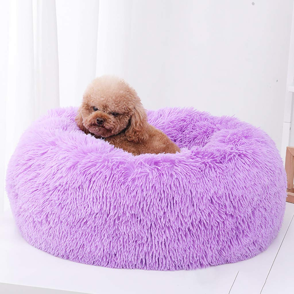 L:60x60cm, Rosa caliente Amekon Cama de Gato Donut Cama de Mascotas Perros Redonda C/ómodo Suave Corto Nido de Donut con Coj/ín para Animales Cachorros para Dormir Descansar Invierno Versi/ón Esponjosa