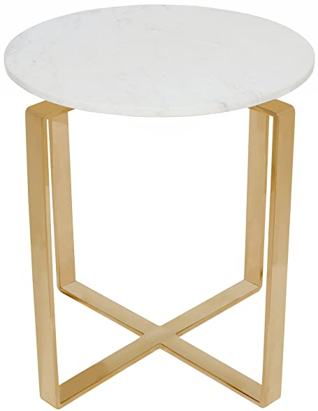 Amazoncom Rosa Round Marble Top Side Table With Brushed Gold - Brushed gold side table