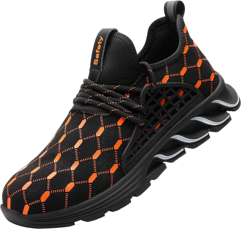 Zapatillas de Seguridad Hombres Zapatos de Trabajo con Punta de Acero Calzado de Seguridad