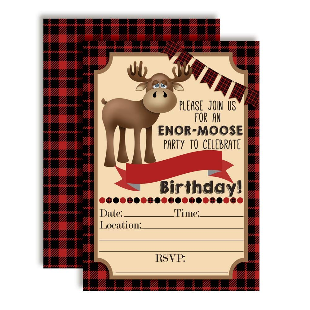 Rustic Red & Black Plaid Flannel Print Moose Birthday Party Invitations, 20 5''x7'' Fill in Cards with Twenty White Envelopes by AmandaCreation