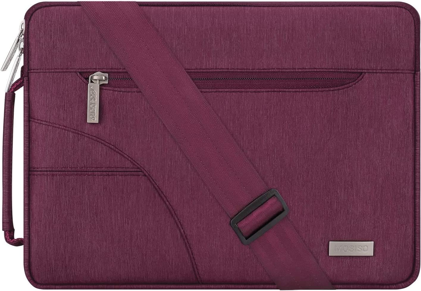 MOSISO Laptop Shoulder Bag Compatible with 13-13.3 inch MacBook Pro, MacBook Air, Notebook Computer, Polyester Briefcase Sleeve with Side Handle, Burgundy