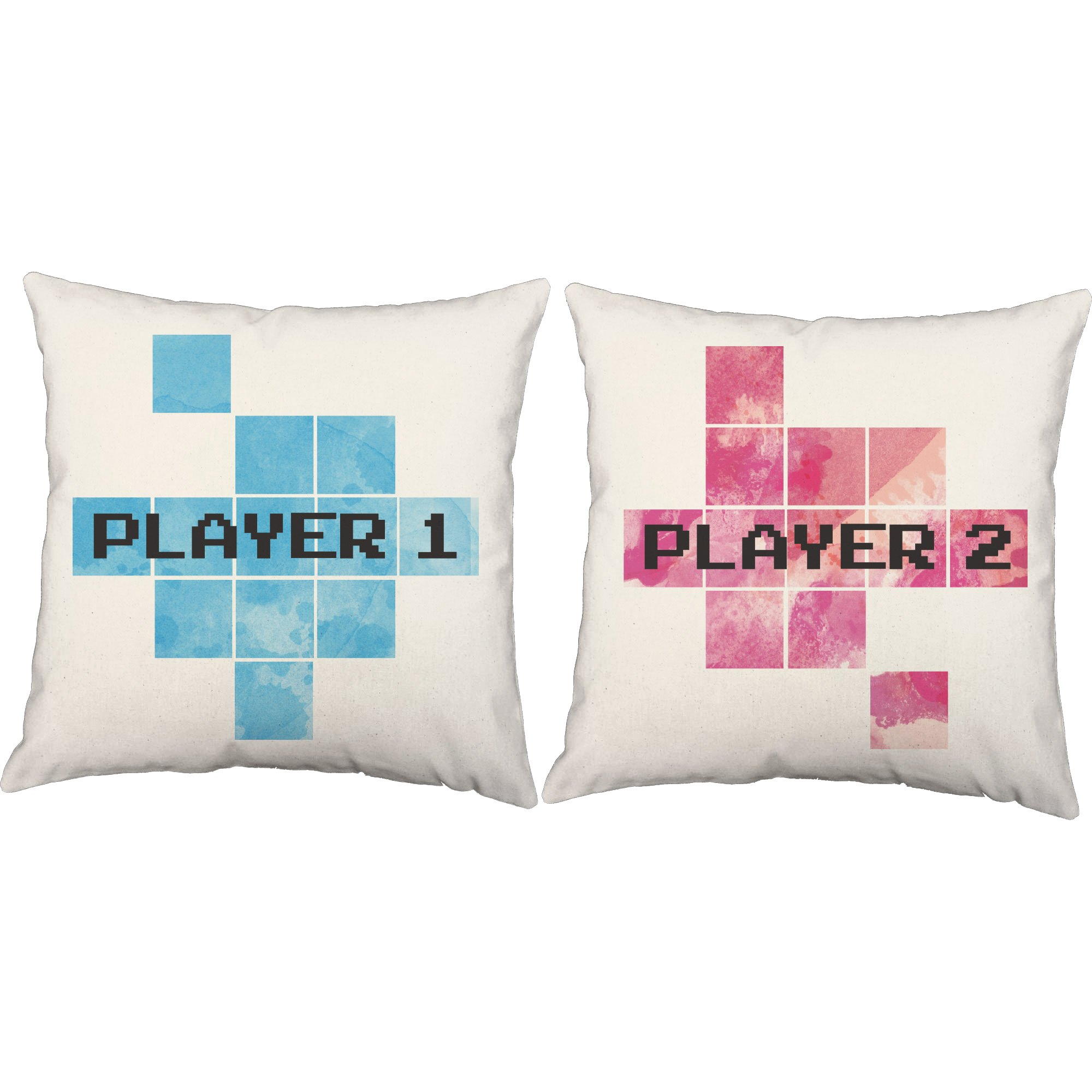 Set of 2 RoomCraft Player One Player Two Throw Pillows 20x20 Square White Indoor-Outdoor Video Game Couple Cushions