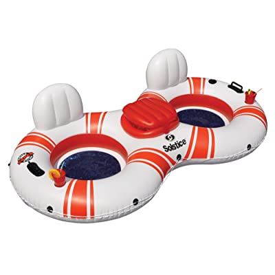 Inflatable White and Red Duo Swimming Pool Float with Cooler, 88-Inch: Sports & Outdoors