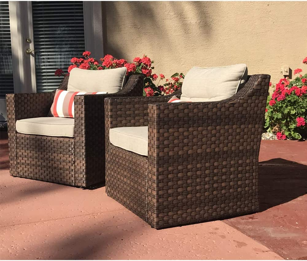 SUNSITT Patio Outdoor Furniture 2-Piece Brown Wicker Single Club Chairs w Beige Olefin Cushions Striped Throw Pillow