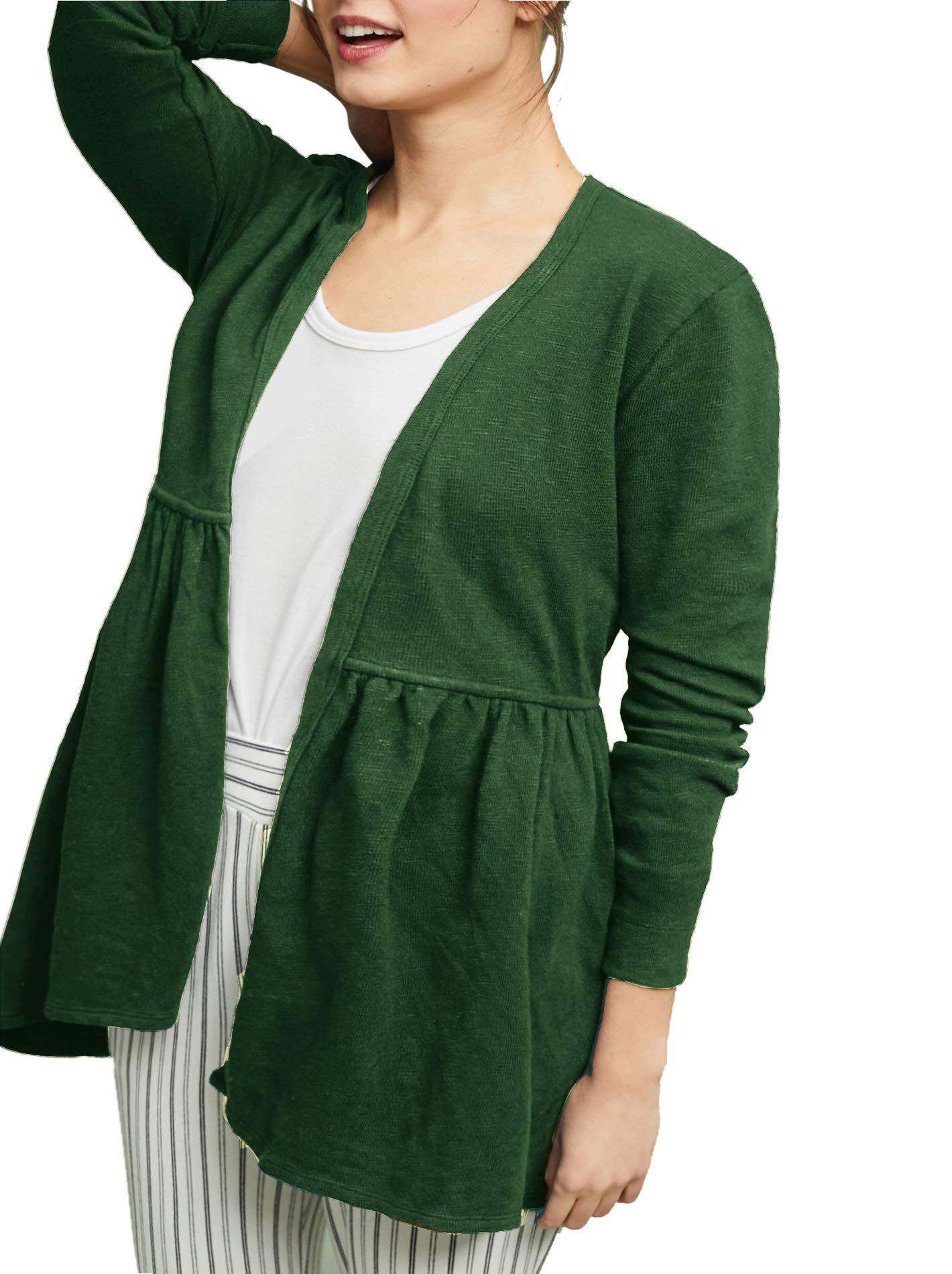 Rotita Women Open Front Knit Cardigan Plus Size Long Sleeve Ruffle Pleated Sweater Outwear