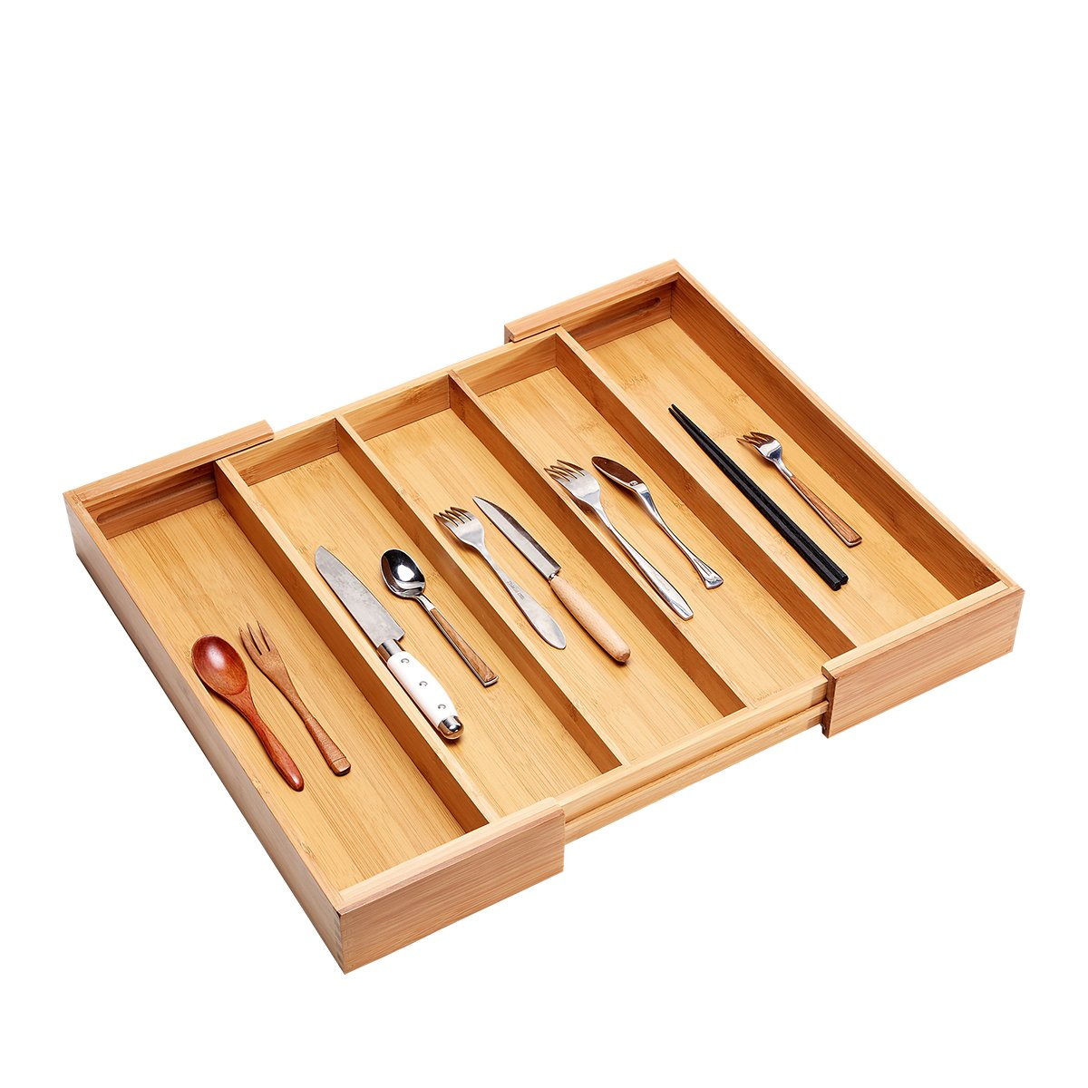 Bamboo Expandable Cutlery Tray & Drawer Organizer, 3 Compartments, with 2 Adjustable Dimensions; Beautiful, Durable and Multifunctional Utensil Holder and Organizer.