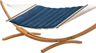 product image for Hatteras Hammocks Platform Indigo Sunbrella Pillowtop Hammock with Free Extension Chains & Tree Hooks, Handcrafted in The USA, Accommodates 2 People, 450 LB Weight Capacity, 13 ft. x 55 in.