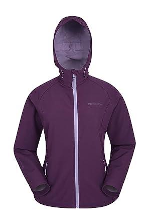 208b8b5ce9b4b2 Mountain Warehouse Reykjavik Softshelljacke für Damen - Atmungsaktiv,  wasserbeständiger Regenjacke, verstellbare Kapuze, Jacke