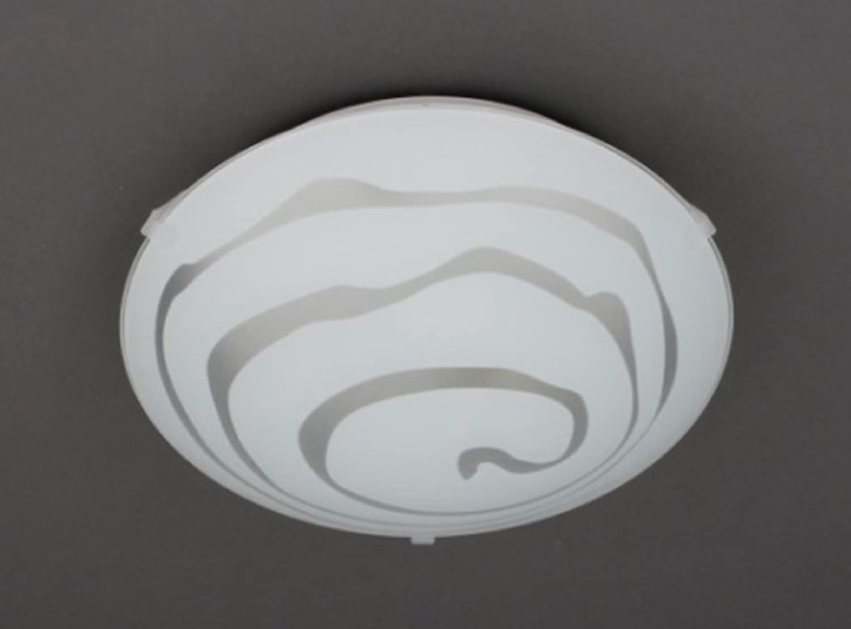 Trango Design glass ceiling light, bathroom light with E27 fitting, suitable for all LED bulbs, direct, 230 V Modern Deckenleuchte Spirale