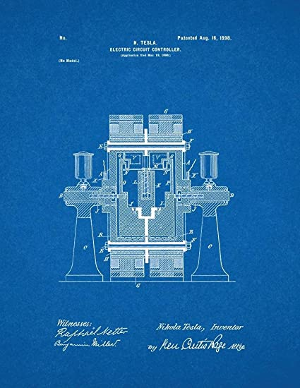 Amazon.com: Tesla Electric Circuit Controller Patent Print Art ...