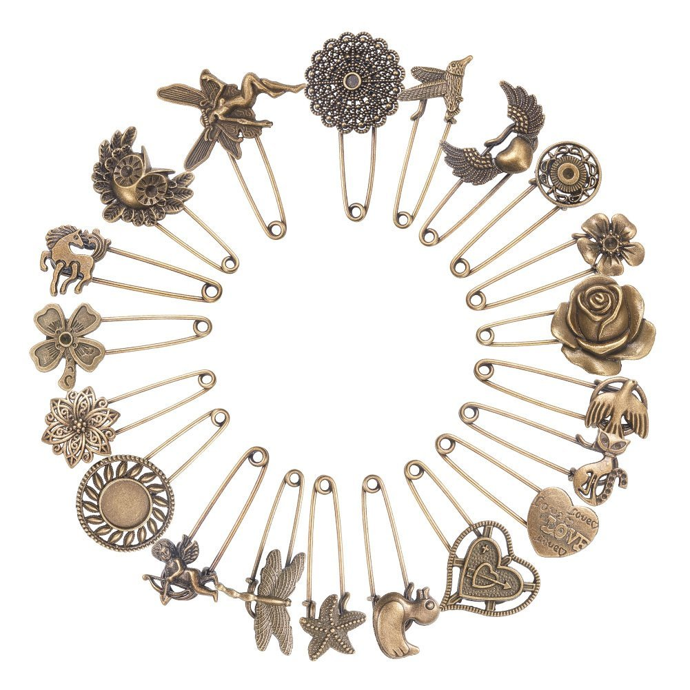 NBEADS 1 Set of 20pcs Vintage Mixed Shaped Safety Pin Alloy Brooch Findings, Antique Bronze JEWB-PH0001-01AB-US6