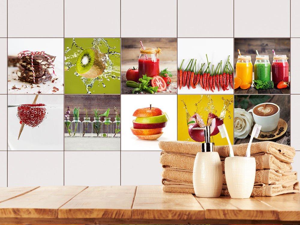 GRAZDesign 770497_20x20_FS20st Fliesenaufkleber Küche Obst und Set ...