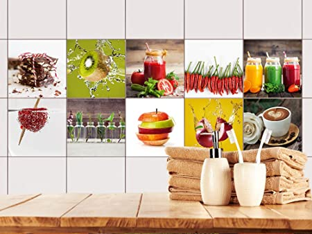 GRAZDesign 770497_10x10_FS10st Fliesenaufkleber Küche Obst und ...