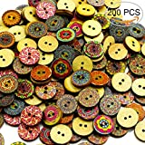 BcPowr 200 PCS Retro button,Mixed Random Shinning Round 2 Holes Wooden Buttons for Sewing Crafting