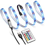AMIR TV LED Backlight Kit RGB Light Strip Kit Bias Lighting with Remote Control USB LED Strip Lights for 40-60 inch HDTV Monitor PC Car & More (4pcs x 50cm 16 Colors & 4 Modes)