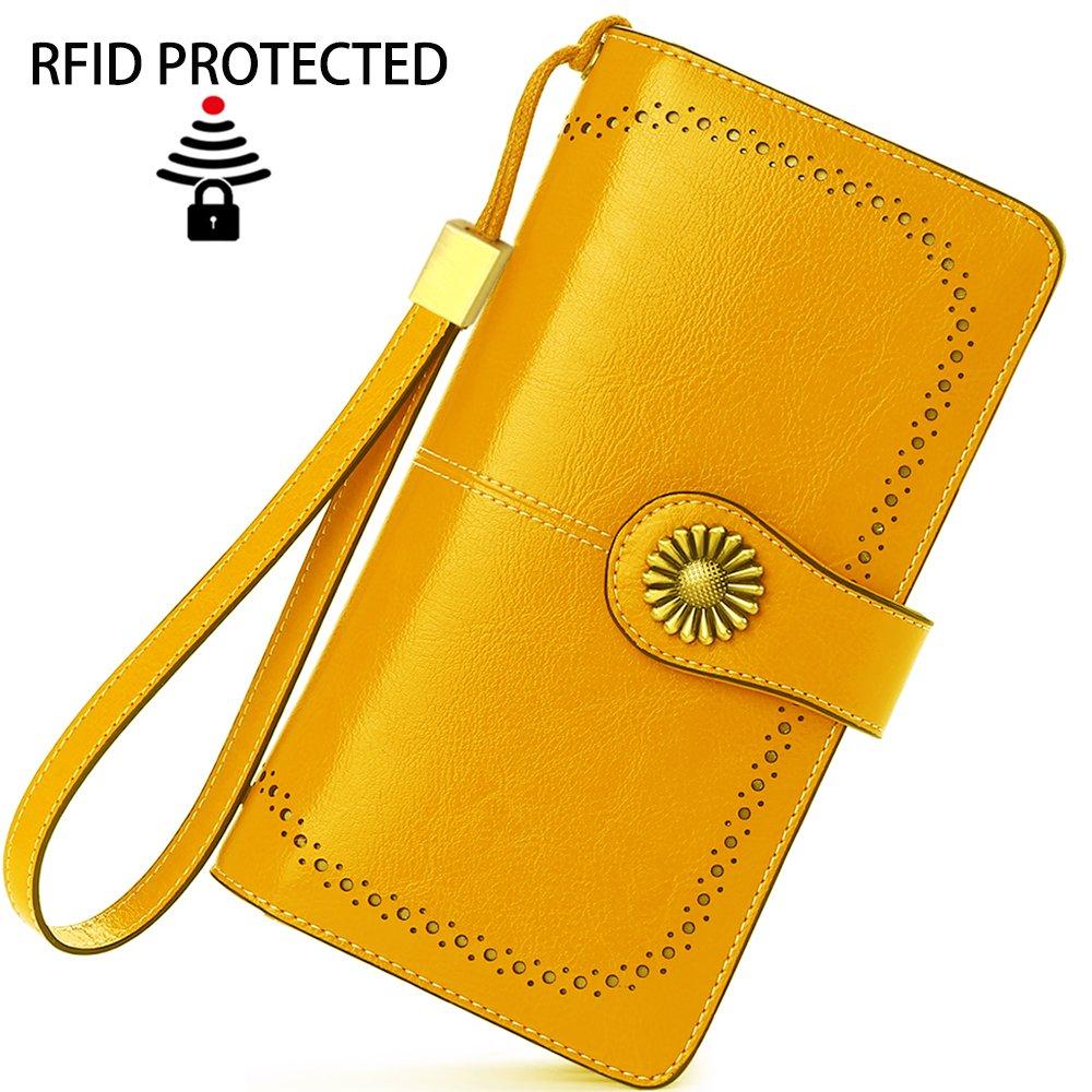 2f2261a87 Cartera Cuero Mujer Bloqueo RFID Monedero Piel Mujer Grande con Muchos  Bolsillos