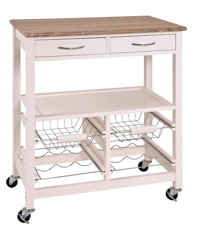 Küchenwagen mit Schubladen, Körben, Flaschenhaltern und Ablagen Maße (B T H) in cm  68 x 37 x 84 in weiß-eiche hell