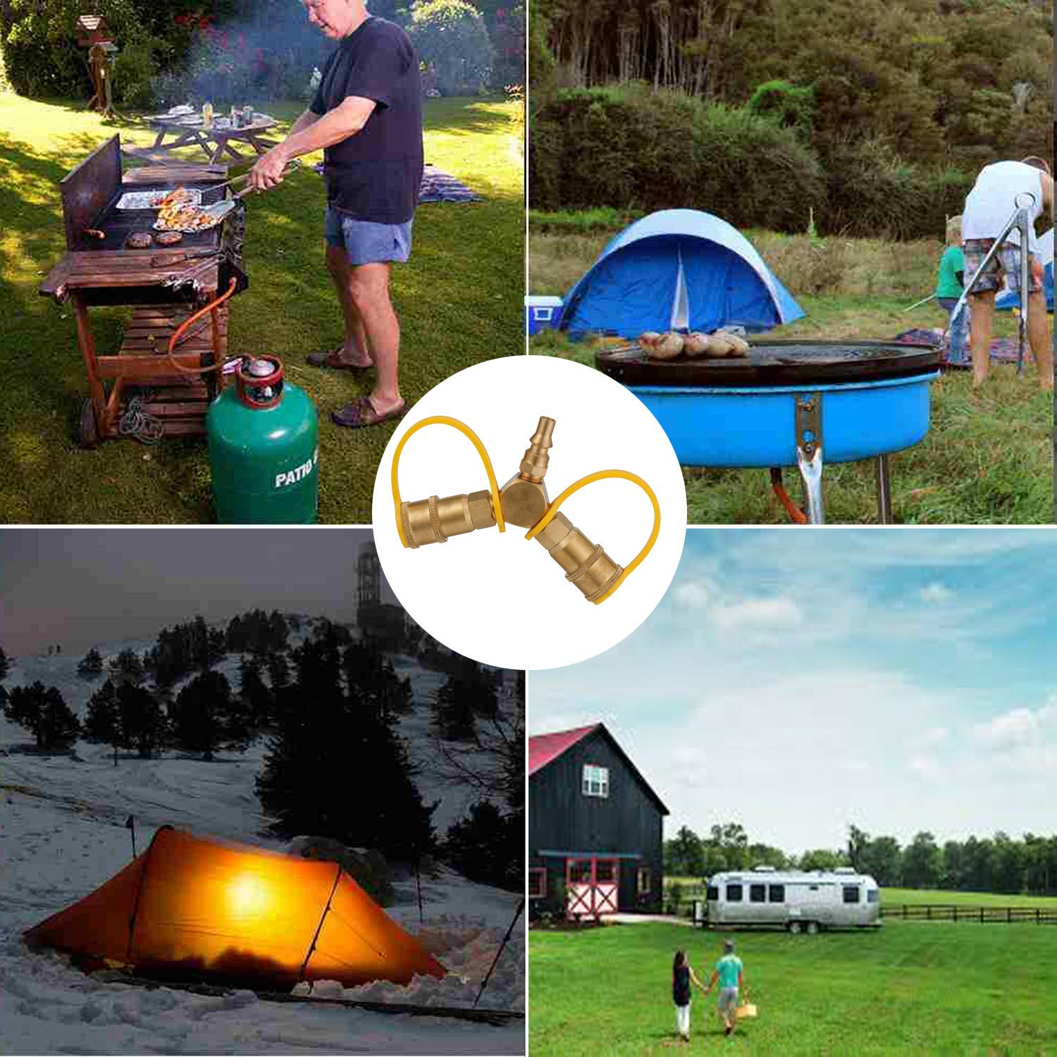 BBQ Kohree 1//4 RV Propane Quick Connect Y Splitter Adapter Hose Fittings for RV to Grill Quick Connect Propane Hose Connector Brass to Trailer Tabletap Heater Camping Stove Motorhome