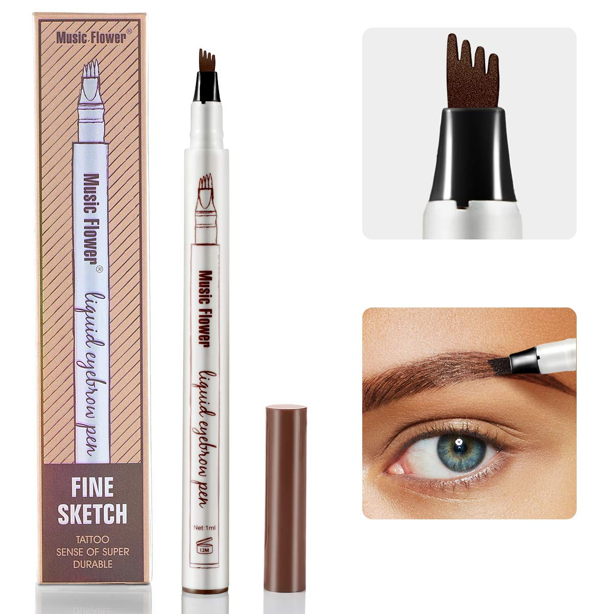 Eyebrow Tattoo Pen - iMethod Microblading Eyebrow Pencil with a Micro-Fork Tip Applicator Creates Natural Looking Brows Effortlessly and Stays on All Day (Brown)