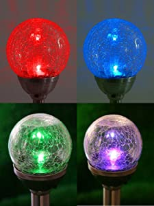 JEERUI Solar Garden Lights, LED Crackle Glass Globe Color Changing Light, Outdoor Landscape Lights Decoration for Path, Walkway, Patio and Yard 4 PCS