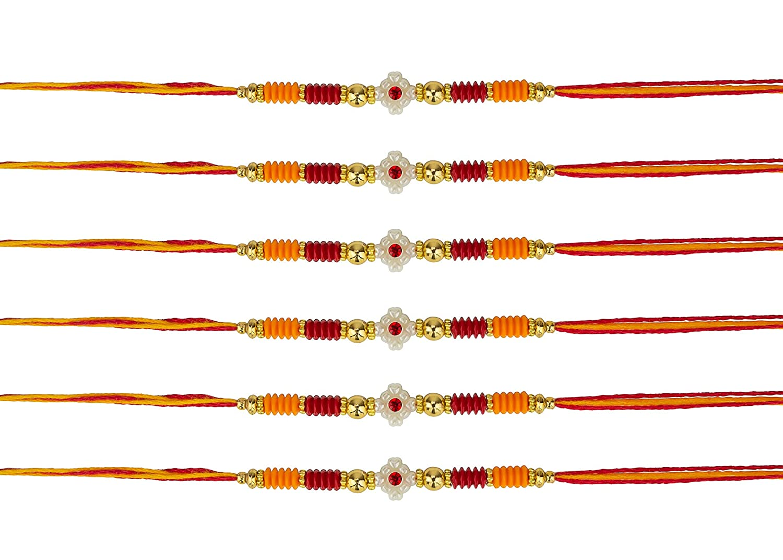 Rakhi Thread Raksha Bandhan Hindu Indian Festival-Wrist Band-Rakhadi Set of 6