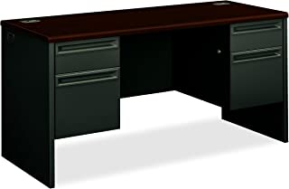product image for HON 38852NS 38000 Series 60 by 24 by 29-1/2-Inch Kneespace Credenza, Charcoal Frame, Mahogany Top