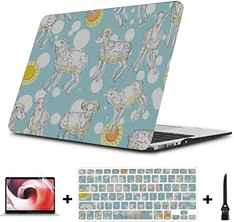 MacBook Air Hard Cover Sheep Retro Wild Animal Naturel Plastic Hard Shell Compatible Mac Air 11 Pro 13 15 Laptop Case MacBook Pro Protection for MacBook 2016-2019 Version