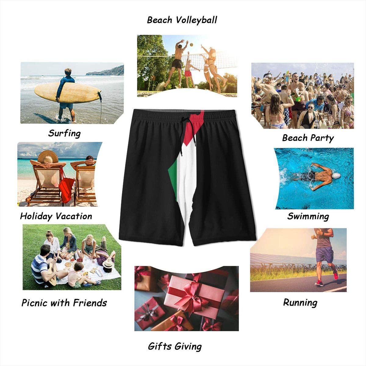 MAOYI/&J6 Flag Map of Palestine Youth Beach Board Shorts Boys Girls Swimming Shorts with Pockets