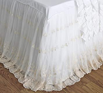 Queen's House Ivory Luxury Lace Ruffle Shabby Bed Skirt Split Corners Coverlets Bedspreads Dust Ruffles-King30'' Drop
