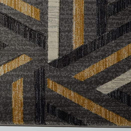 Ladole Rugs Grey Beautiful Indoor Dining Area Rug Living Room Bedroom Entrance Hallway Carpet in Dark Grey Gold 7×10 6 5 x 9 5 200cm x 290cm 5×7 8×10 9×12 2×10 4×6 feet