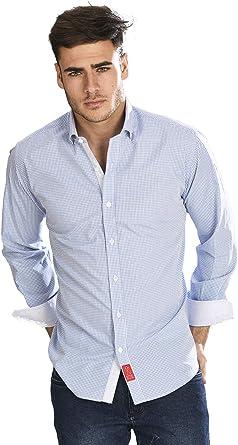 Camisa Manga Larga semientallada con Cuadros Vichy de Color Azul Celeste para Hombre - 5_XL, Azul Claro: Amazon.es: Ropa y accesorios