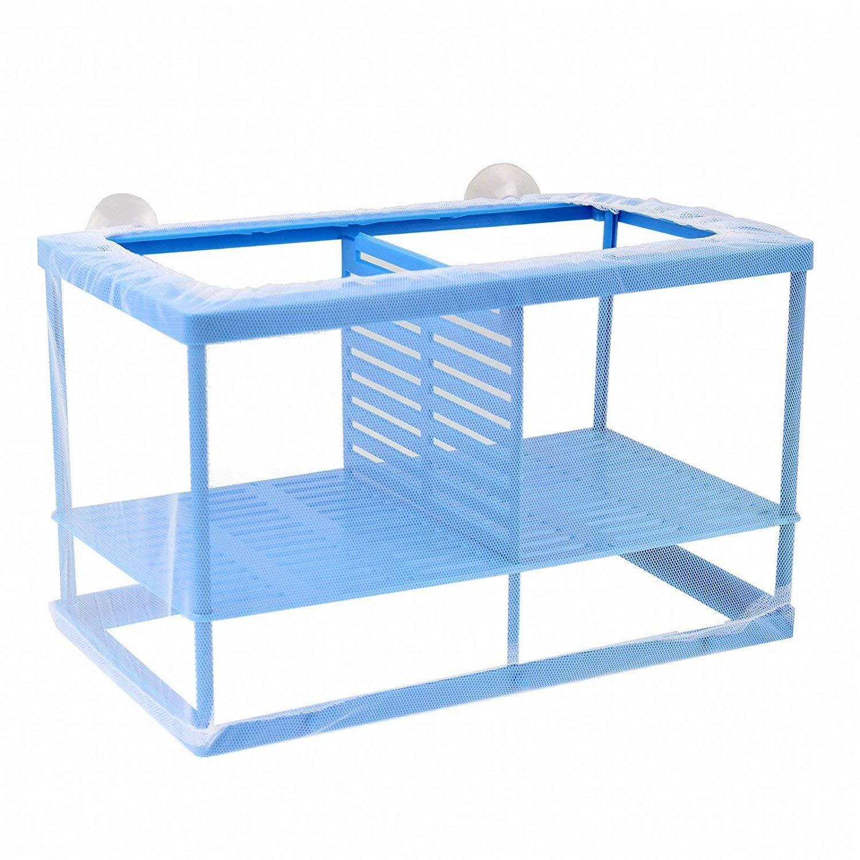 XMHF Aquarium Fish Breeder Box Isolation Box Net Breeder Hatchery Incubator Separation Net, White Blue
