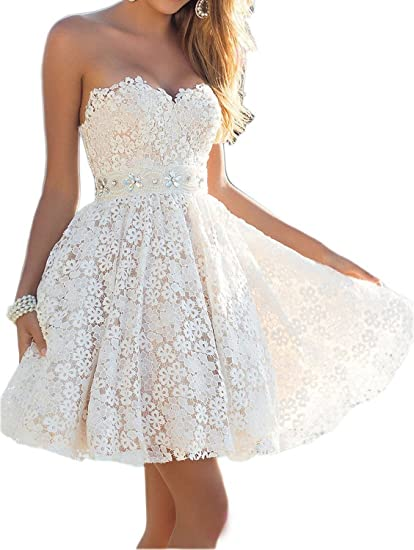 Fanciest Womens Crystal Lace Prom Dresses Short Homecoming Party Wedding Gowns White: Amazon.co.uk: Clothing