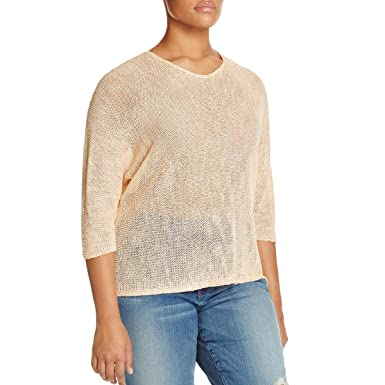Niczoe Womens Plus Sunkissed Linen V Neck Pullover Sweater At