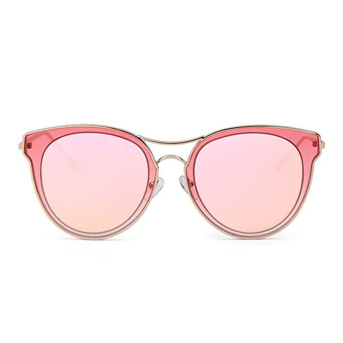 Gafas de Sol Ojos de Gato Lentes Redondos Planos Claro ...
