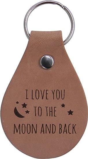 Anniversary Personalised Tan Leather Genuine Keyring Love Gift Valentines