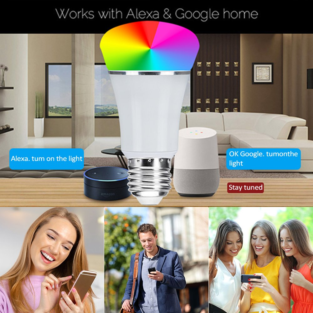 Smart WiFi Bulb,Weton Smart LED Bulb Multicolored Light Bulbs Work with Amazon Alexa Google Home, No Hub Required,Remote Control via Free App for Android & all Smartphones,Dimmable Light Sunrise Light by Weton (Image #5)
