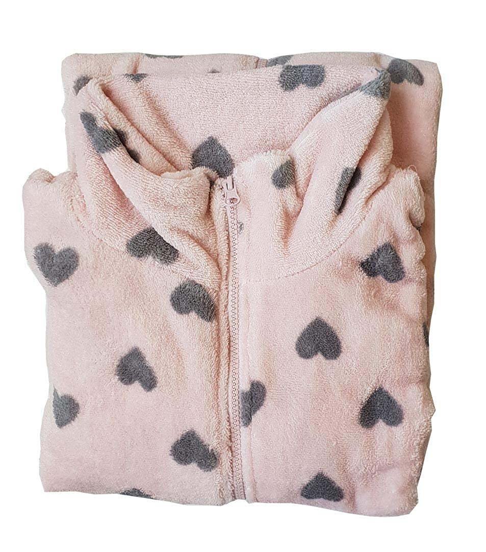 OM DOLCE CASA Vestaglia Pile Flanel Donna Taglia S Small Colore Rosa con Cuori Grigi Cerniera Idea Regalo